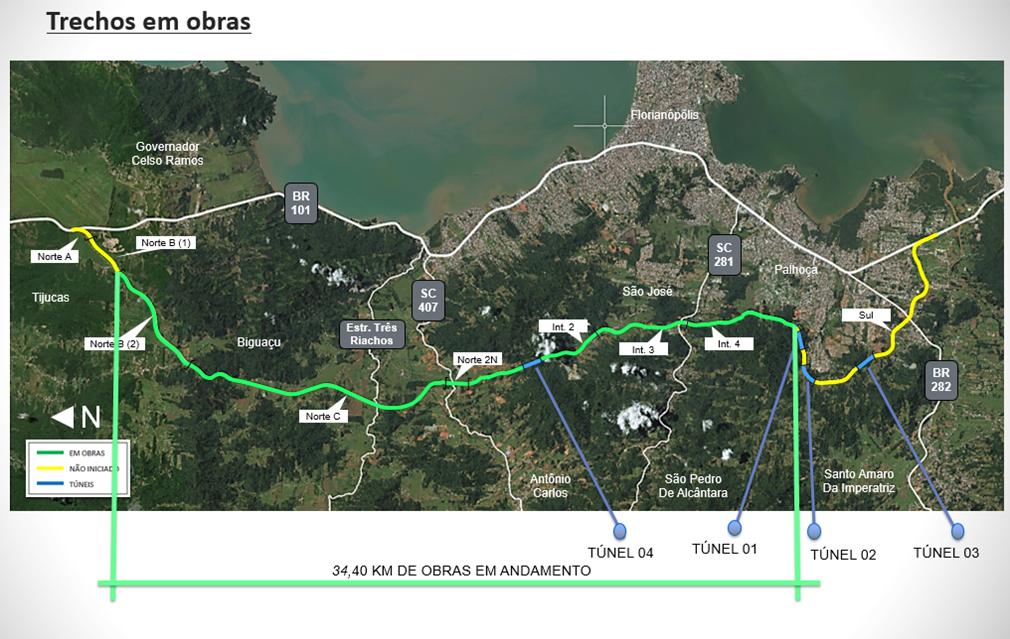 Mapa de andamento das obras atualizado