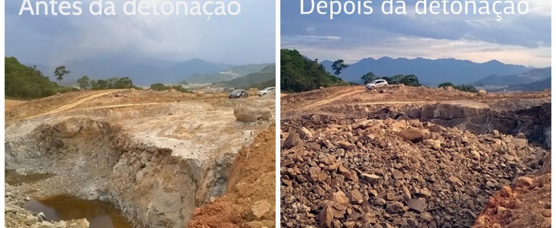 RESULTADO DE DETONAÇÕES DE ROCHAS – CONTORNO DE FLORIANÓPOLIS – PONTO CO-06 DETONAÇÃO 8